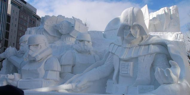 The Japanese Army sculpted this giant Darth Vader ice sculpture