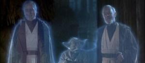 """el cierre original de """"el retorno del Jedi"""" con Sebastian Shaw interpertando a Anakin fuente"""