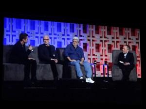 Hayden Christensen, Ian McDiarmid, George Lucas y Warwick Davies