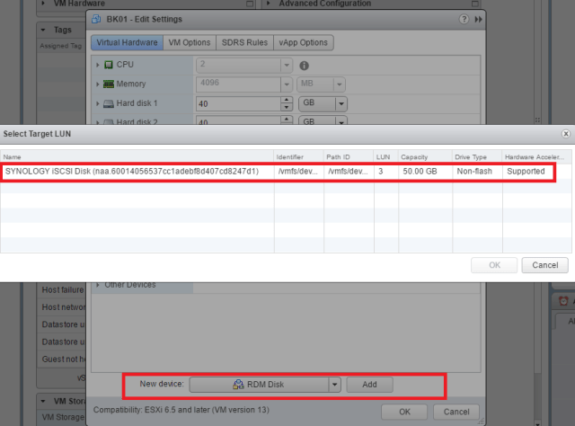 Storage Manager adding RDM disk to the backup VM