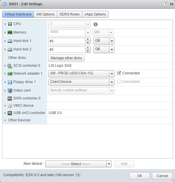 virtual hardware edit settings
