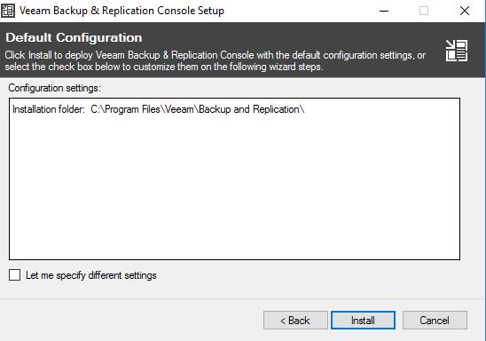 Veeam Backup & Replication Console setup default configuration