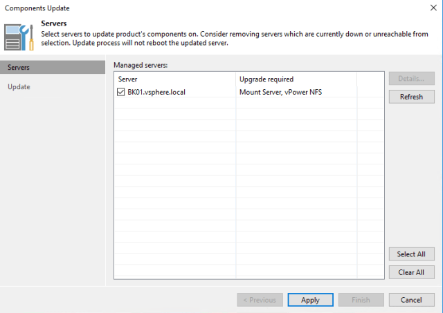 Veeam Backup & Replication 9.5 server selection for updates view