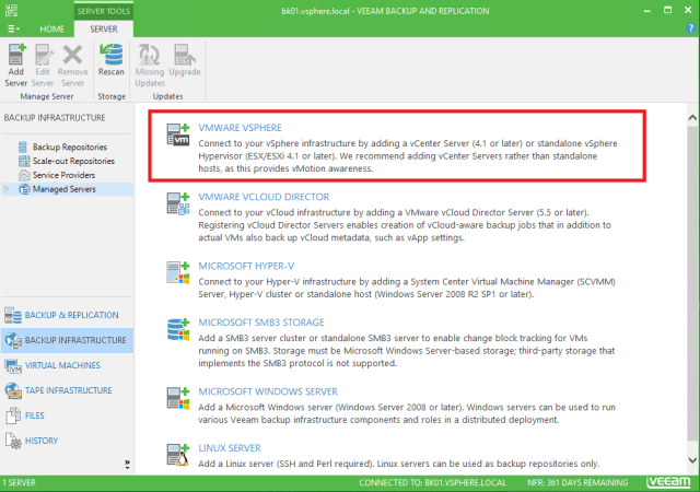 Veeam Backup and Replication 9.5 Backup Infrastructure Managed Servers