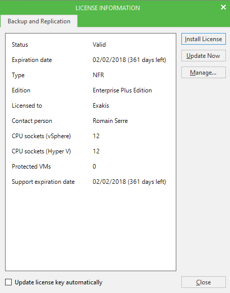 Veeam Backup & Replication 9.5 license validation information