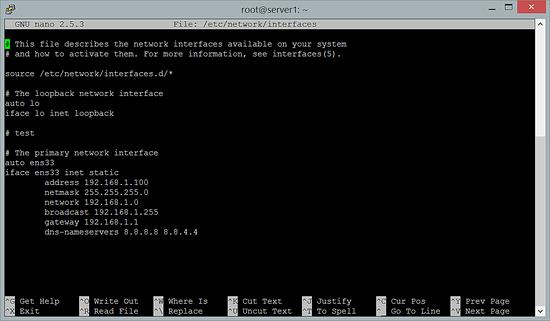 Ubuntu network configuration file