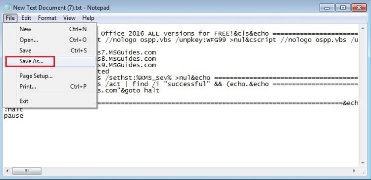 save code as batch file