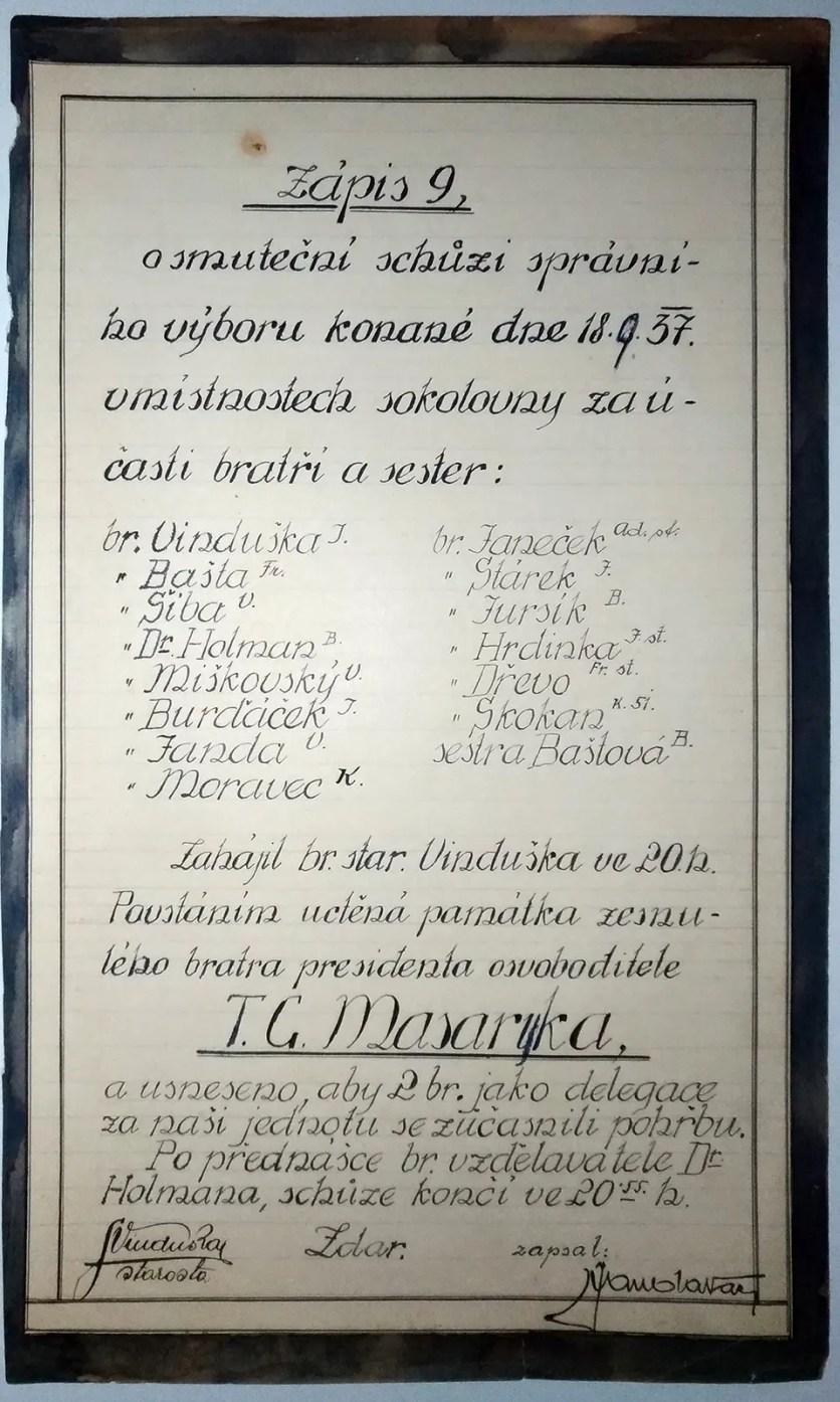 1937 - slavnostní schůze Sokola
