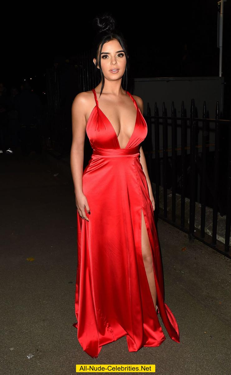 Demi Rose Deep Cleavage In Red Dress