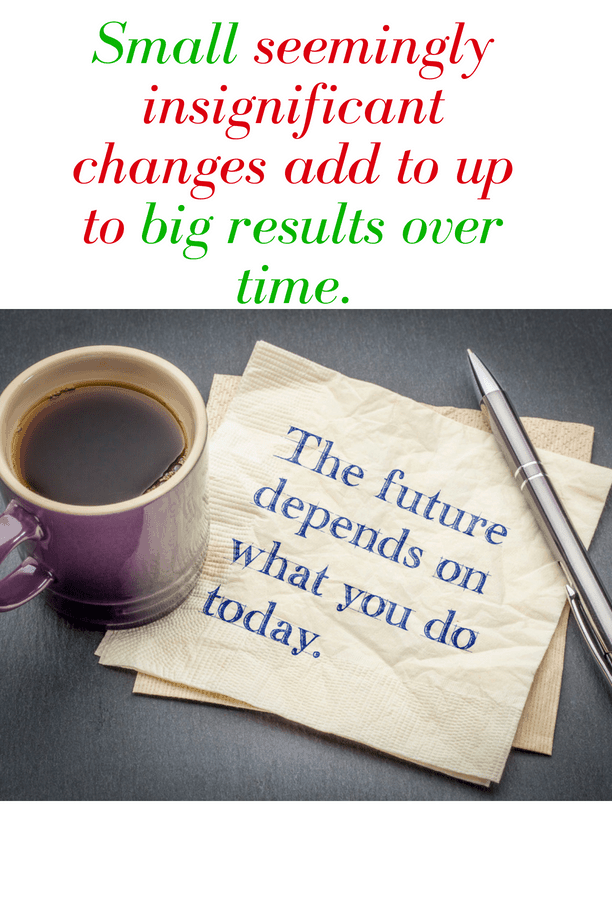 Small seemingly insignificant changes in your life, add up to bigger results over time - The Compound Effect.