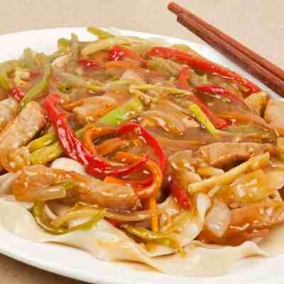 Delicious family dinner of Pork Lo Mein