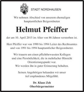 Nachruf Stadt Nordhausen