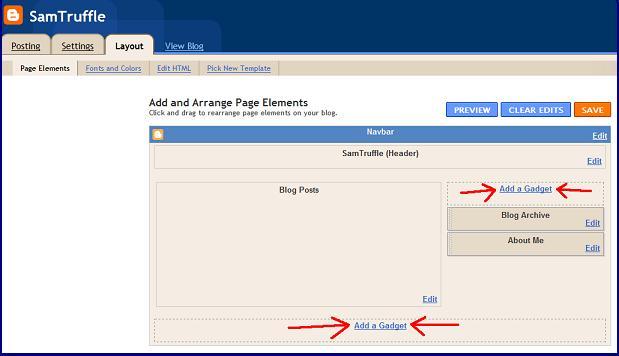Blogger - Add a Gadget