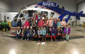 Brownie Girl Scouts toured University Park Airport and worked on their Aviation and Fling Flyer badges.