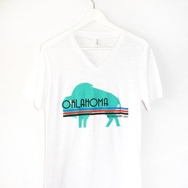 oklahoma buffalo republic t shirt white v neck nativeokie com