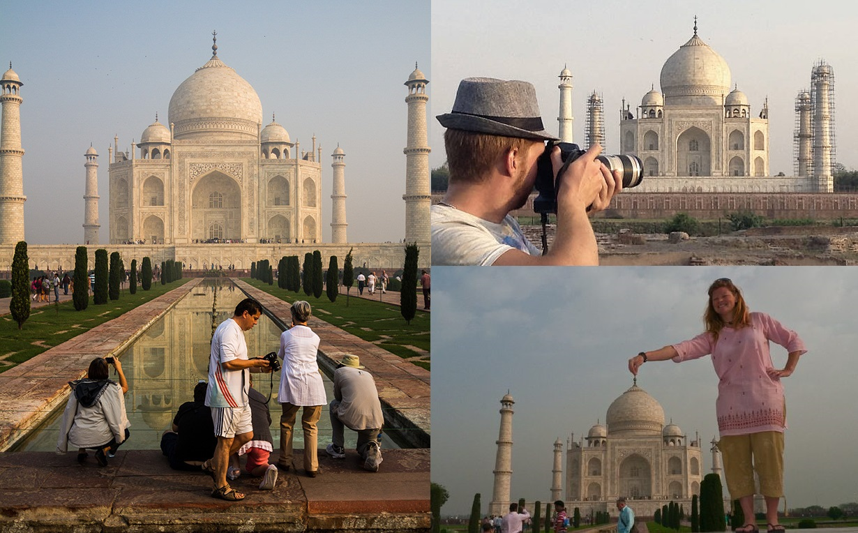 Photography at the Taj-Mahal in Mugalai Cuisine during Golden Triangle Tour