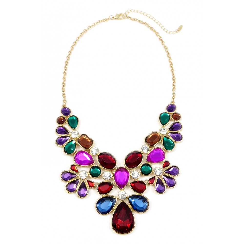 Krishna Jewel Toned Gemstone Floral Statement Necklace
