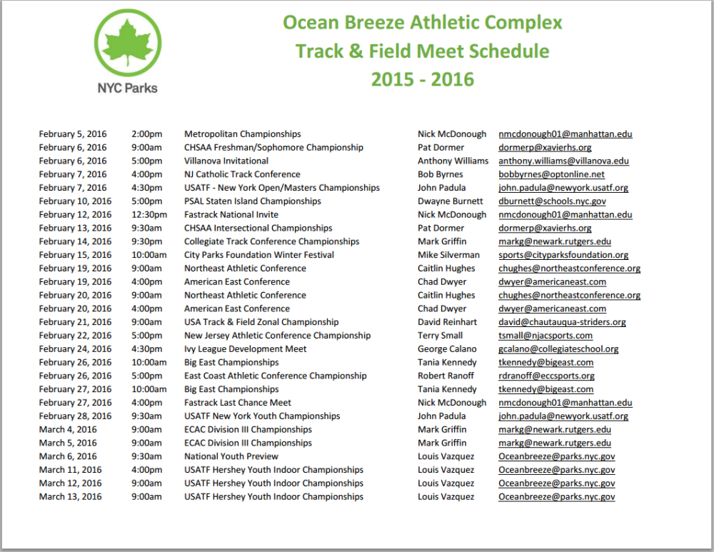 ocean breeze holiday festival track meet event
