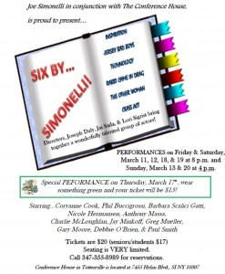 """Six By Simonelli"", six comedic one acts by Staten Island playwright Joe Simonelli beginning March 11th"
