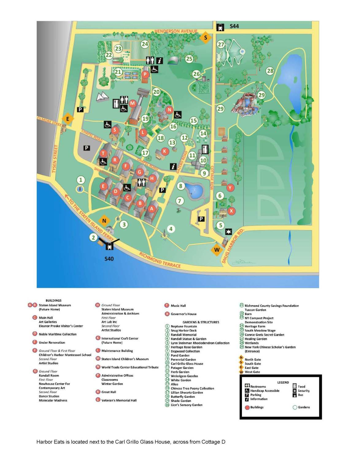 download a pdf of the snug harbor campus map here mass transit take subway to lower manhattan via the 1 train to south ferry or the 45 train to bowling - Staten Island Botanical Garden