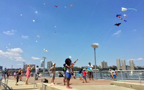 kids fly kites at the waterfront of a park