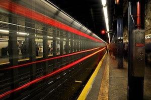 Light trails from a speeding subway car