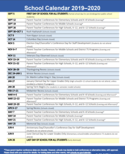 NYC Department of Education School Calendar 2019-2020