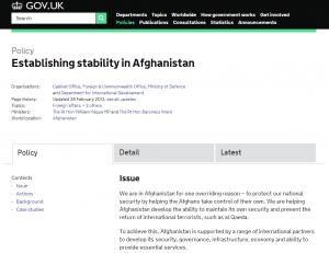 gov.uk- Afganistan policy
