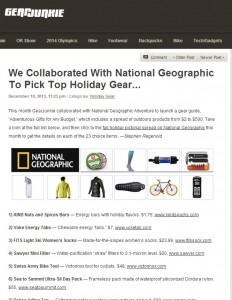 Gear Junkies and National Geographic