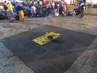 One of many ritual offerings outside the Basilica of Our Lady of Guadalupe. Source: Chris Crews (Attribution via chriscrews.com)