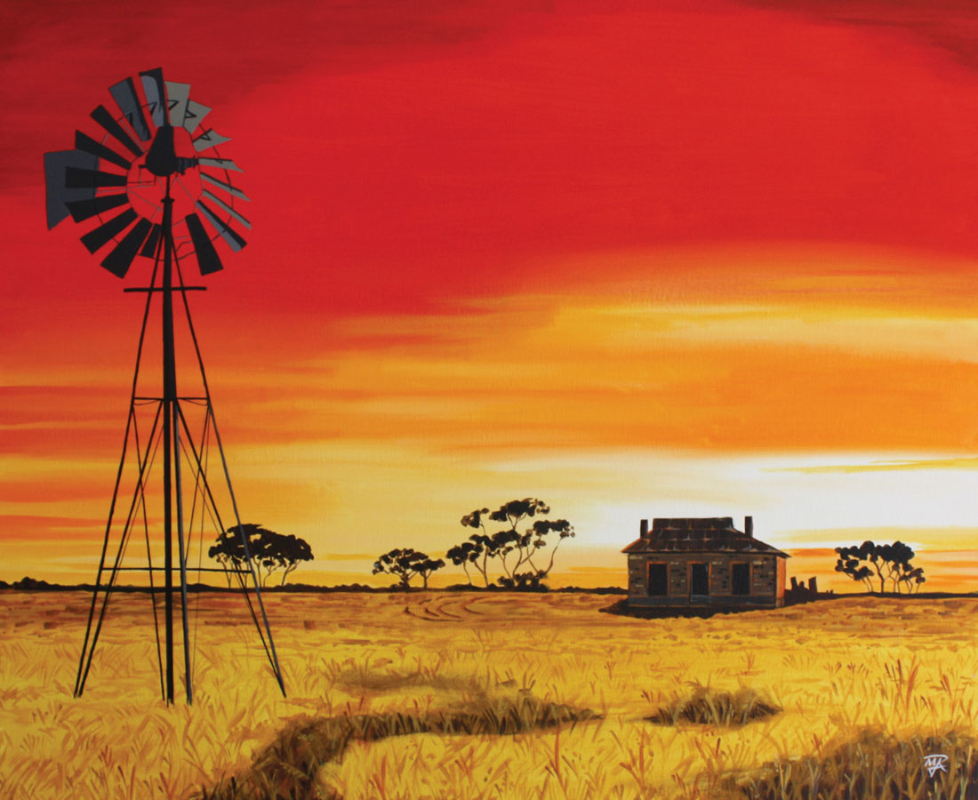 Australian Farm Buy Original Painting By Mich Raap For