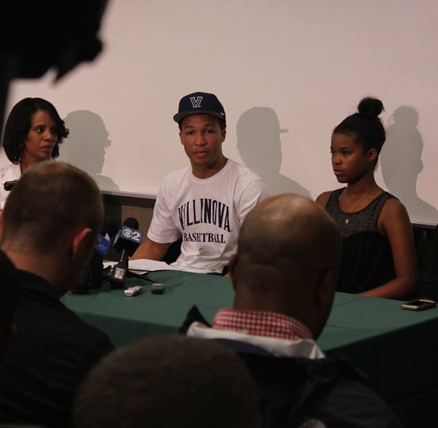 COLLEGE COMMITTED. Donning Villanova apparel, Jalen Brunson '15 officially committed to the university on Sep. 10. He plans to remain in Villanova for the next four years.