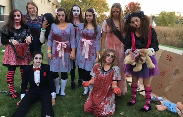 Several volunteers at the Nightmare on Stevenson Drive dress up to get into the event's theme.