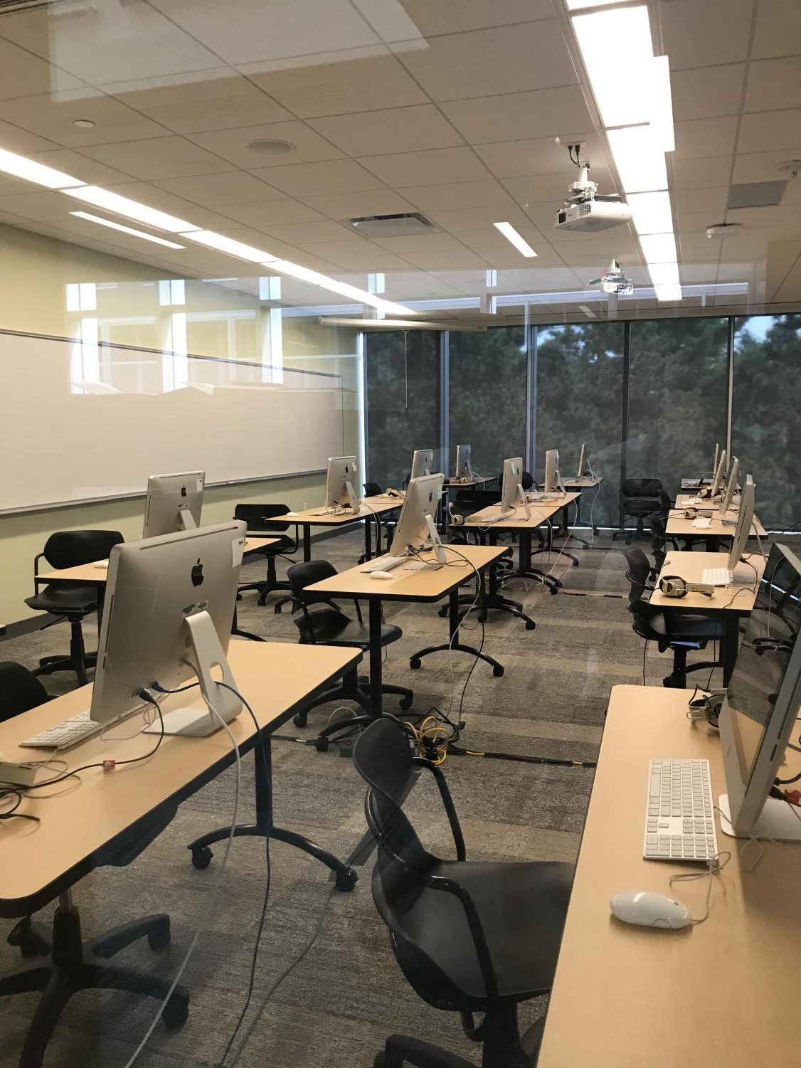 A new classroom is set up for student taking the AP Spanish exam this month. Each classroom in the new addition has windows on each side to let in extra light.