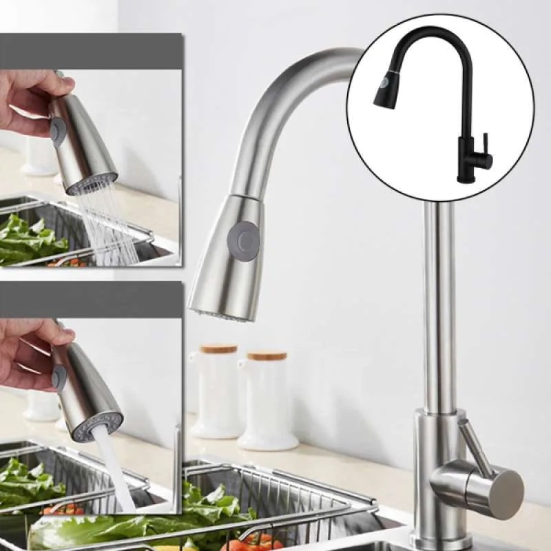 single handle arc pull out kitchen faucets stainless steel with sprayer tap