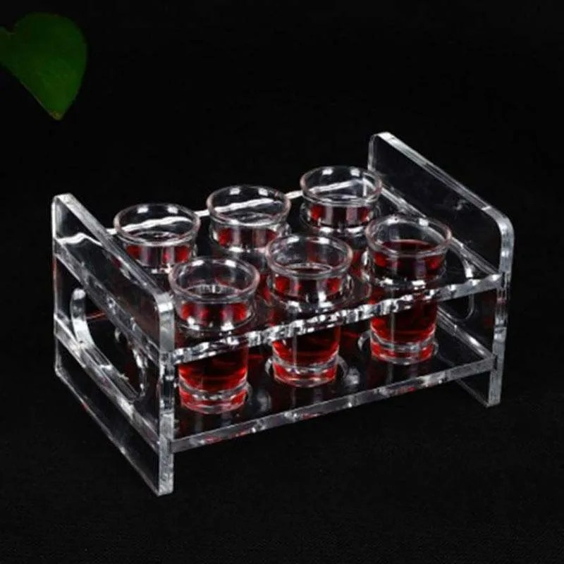 oem acrylic shot glass holder rack drinks whisky cup serving tray clear 6 hole