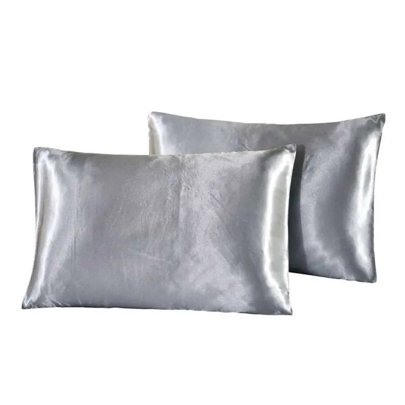 1 pair solid color luxury silky pillowcases queen size 20x30 grey queen 20x30