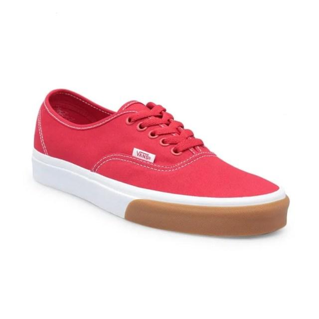 Vans UA Authentic Gum Bumper Sepatu Pria - Red White