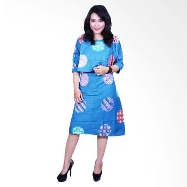 Batik Putri Ayu Solo DS601 Cantik Katun Dress Batik Wanita - Biru Muda