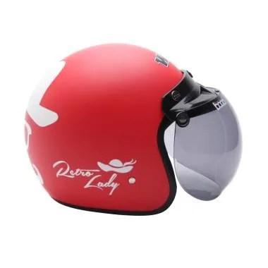 WTO Helmet Retro Bogo - Lady - Merah Doff