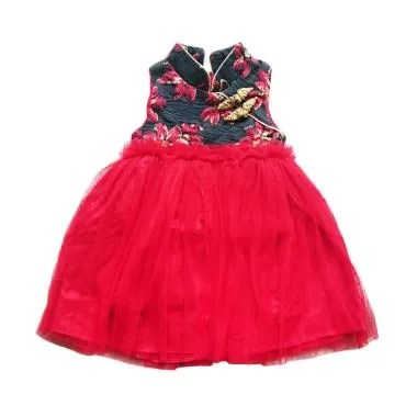 Flower Kids Flower Tutu Dress Cheongsam Anak - Black Red