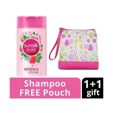 SUNSILK Hijab Refresh & Volume Shampoo [340 mL] + Free Pouch