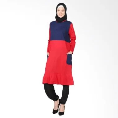 Chick Shop Cute CO-60-02-DM Dress Moslem - Navy Red