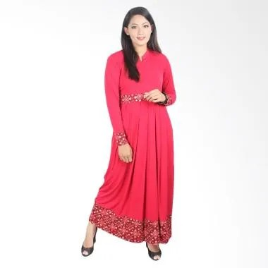 Fafa Collection Marsha 012 Long Batik Dress Muslim - Merah
