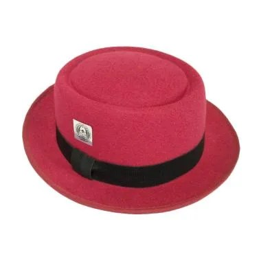 D & D Hat Collection Pork Pie Dewasa Topi - Maroon