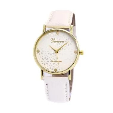 Geneva 002 Flowers Analog Leather B ... Jam Tangan Wanita - Putih