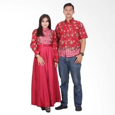 Batik Putri Ayu Solo Gamis Modern srg200 Baju Batik Couple - Merah