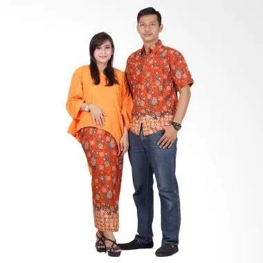 Batik Putri Ayu Solo Batik Couple D ... aju Batik Couple - Orange