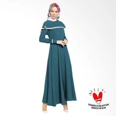 Jfashion Long Dress Maxi Variasi Re ... Wanita - Vinka Biru Tosca