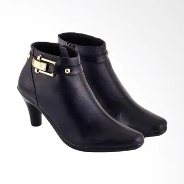 JK Collection Fashionable Leather A198 Women Formal Boots - Black
